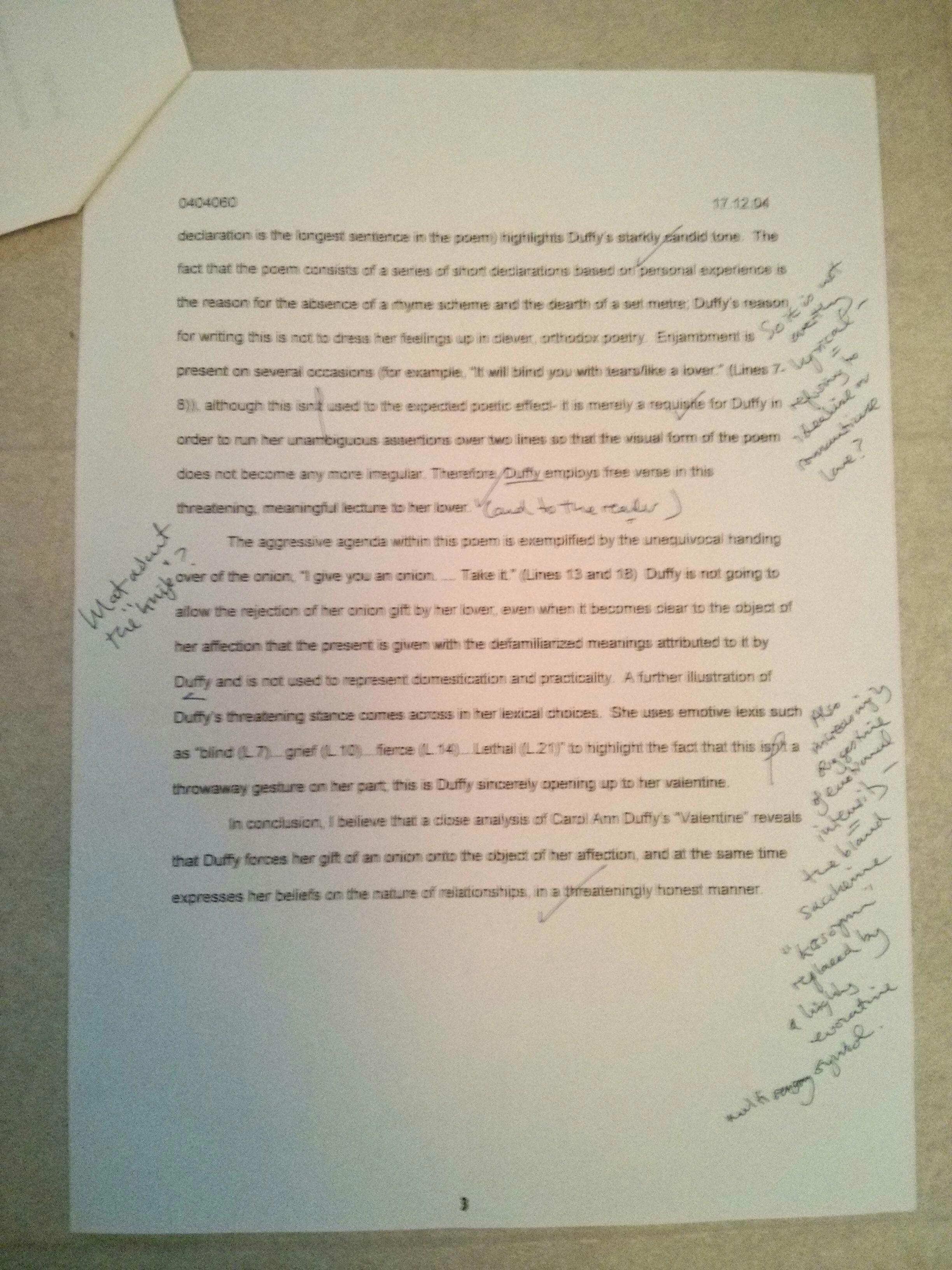Essay, Valentine Carol Ann Duffy Free Essay Example